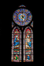 Stained glass window in Notre Dame Cathedral. Paris, France. - Photo #30983