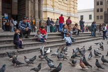 People sitting on the the steps of San Francisco Church. Lima - Photo #8832