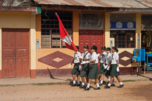 School children practicing marching for Independence Day. Puerto Maldonado, Peru. - Photo #9032