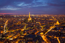 Aerial view of Paris at night. - Photo #31531