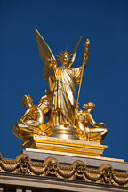 Gold statue atop the Palais Garnier. Paris, France. - Photo #31896