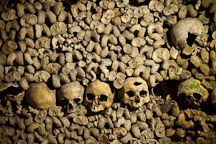 Stacked human remains in the Paris catacombs. Paris, France. - Photo #31555