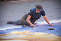 Street artist drawing mural on the ground. Paris, France. - Photo #31217