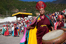 Monk in the morning procession. Thimphu tsechu, Bhutan. - Photo #22433