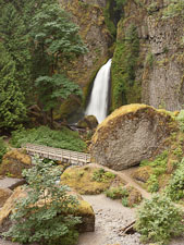 Wahclella Falls and bridge. Columbia River Gorge, Oregon. - Photo #28333