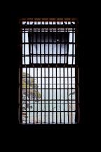Barred window in the dining room. Alcatraz prison, California. - Photo #22134