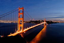 Golden Gate Bridge at night. San Francisco, California, USA. - Photo #11734