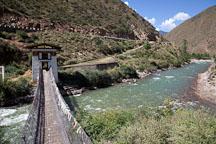 Restored iron bridge over the Paro Chhu river. South of Paro, Bhutan. - Photo #22335