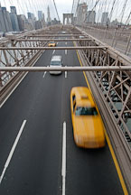 Taxi cab crossing the Brooklyn Bridge. New York City, New York, USA. - Photo #13236