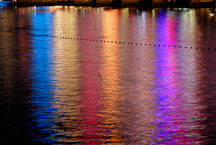 Reflection of neon lights on water. Las Vegas, Nevada, USA. - Photo #13337