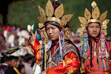 Dancer with small hand drum. Thimphu tsechu, Bhutan. - Photo #22737