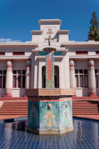 Fountain in front of the temple at the Rosicrucian Park. San Jose, California. - Photo #21937