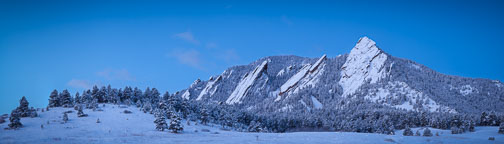 Panorama of the Flatirons taken during the winter in Chautauqua Park. Boulder, Colorado. - Photo #33137