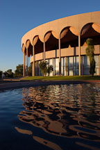 Grady Gammage Memorial Auditorium with reflection in pool of water. Tempe, Arizona. - Photo #5237