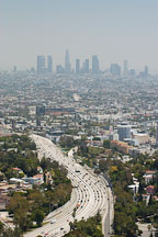 Morning smog and the 101 Freeway. Los Angeles, California, USA. - Photo #6438
