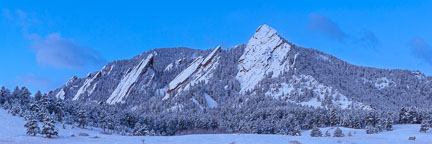 Snow covered Flatirons viewed from Chautauqua meadow. Boulder, Colorado. - Photo #33138