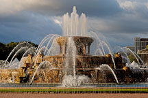 Buckingham Fountain is made from Georgia pink marble. Chicago, Illinois, USA. - Photo #10539