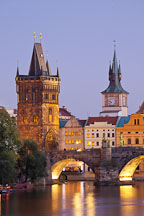 Charles Bridge tower at night. Prague, Czech Republic. - Photo #29939