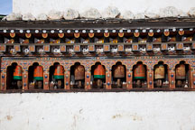 Prayer wheels on the Chorten Lhakhang. Paro, Bhutan. - Photo #24339