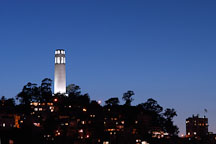 Coit Tower at night, San Francisco, California. - Photo #2001