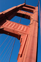 South tower from below. Golden Gate Bridge, San Francisco, California. - Photo #2738