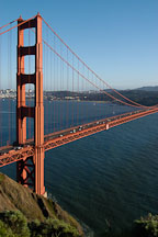 North tower of the Golden Gate Bridge, late afternoon. San Francisco, California. - Photo #2763