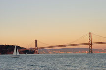 Sailboat and the Oakland Bay Bridge. San Francisco, California. - Photo #2018