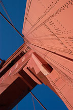 Looking straight up at the South tower. Golden Gate Bridge, San Francisco, California. - Photo #2739