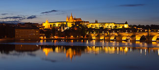 Prague castle panorama at dusk. Prague, Castle. - Photo #30104