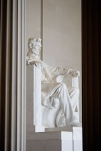 Statue of Abraham Lincoln framed by two columns. Lincoln Memorial, Washington, D.C., USA. - Photo #12704