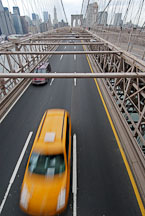 Brooklyn Bridge and taxi cab. New York City, New York, USA. - Photo #13240
