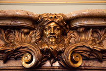 Head of Hercules carved into fireplace mantle. Filoli Garden Ballrom. - Photo #24640