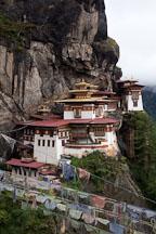 Taktshang Goemba and prayer flags. Paro Valley, Bhutan. - Photo #24240