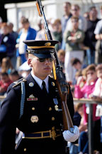Soldier marching with rifle at the Tomb of the Unknowns, Arlington National Cemetery. Arlington, Virginia, USA. - Photo #11140