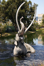 Struggling mastodon trapped in the La Brea tar pits. Los Angeles, California, USA. - Photo #6640