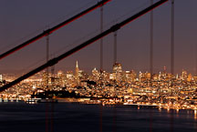 San Francisco and the cables of the Golden Gate Bridge, California, USA. - Photo #11741