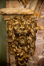 Nemean lion carved into fireplace ballroom. Filoli Gardens. - Photo #24641
