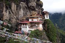 Taktshang Goemba (Tiger's Nest) monastery and prayer flags. Paro Valley, Bhutan. - Photo #24241