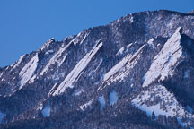 Snow covered Flatirons in winter. Boulder, Colorado. - Photo #33141