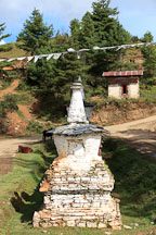Stupa near Gangte Goemba. Phobjikha Valley, Bhutan. - Photo #23741