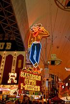 Vegas Vic neon cowboy. Fremont Street, Las Vegas, Nevada, USA. - Photo #13741