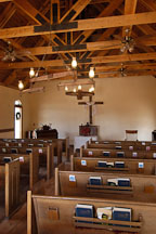 Benches inside the chapel. Goldfield, Phoenix, Arizona, USA. - Photo #5542