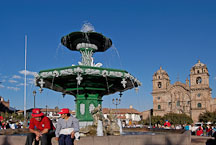 Fountain in Plaza de Armas and Iglesia de la Compania de Jesus. Cusco, Peru. - Photo #9243