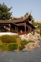 Man in Mountain View Pavilion. Kowloon walled city park. Hong Kong. - Photo #15543