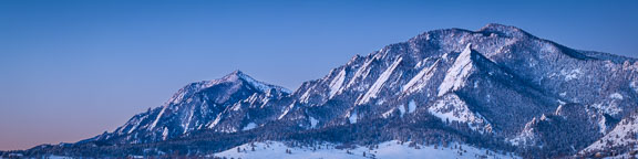 Winter panorama of the Flatirons just before sunrise. Boulder, Colorado. - Photo #33143