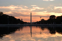 The Capitol reflecting pool at sunset with a bright orange glow. Washington, D.C. - Photo #1844