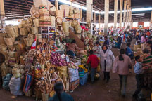 Market stall selling produce and baskets. Central market, Cusco, Peru. - Photo #9445