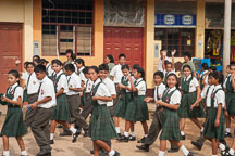 School children practicing marching for Independence Day. Puerto Maldonado, Peru. - Photo #9045
