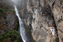 Waterfall (Shelkar Zar) and Singye Phu Lhakhang near the Tiger's Nest monastery. Paro Valley, Bhutan. - Photo #24145
