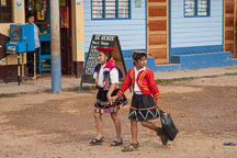 Two girls practicing for the Independence Day parade. Puerto Maldonado, Peru. - Photo #9046